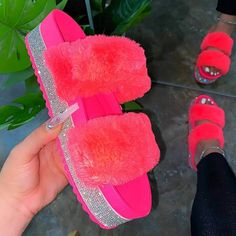 US$ 39.99 - Women Faux Fur Rhinestone Slip On Slippers - www.lookshepretty.com Fluffy Shoes, Fur Loafers, Faux Fur Slides, Fuzzy Slides, Fashion Slippers, Peep Toe, Summer Slippers, Baskets, Melissa Shoes