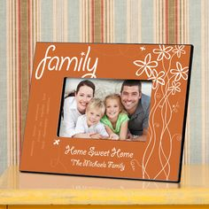 """Breath of Spring Personalized Family Picture Frames. Celebrate spring's fresh breezes and fragrant flowers with our personalized Breath of Spring photo frame, fashioned in soft orange tones and adorned with buzzing bees and the first blooms of the season. Words of love and thanks decorate one side of the frame, leaving lots of room for a personal message to the recipient. Great for any springtime occasion! Frame measures 8"""" x 10"""" and holds a 4"""" x"""