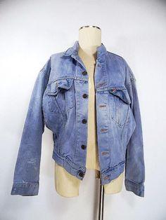 Ending Today!! Levi's Jacket Size Small Jean Denim Biker Trucker Vintage 80s Red Tab Costume #Levis #JeanJacket
