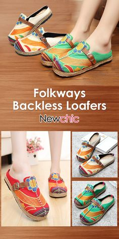 3663668e38a Socofy Colorful Embroidered Buckle Folkways Backless Loafers For Women is  cheap and comfortable. There are other cheap women flats and loafers online.