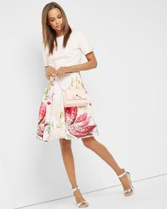 Encyclopedia Floral full skirt - Nude Pink | Skirts & Shorts | Ted Baker