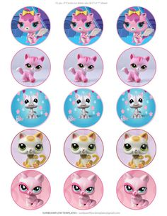 Littlest pet shop kitty cats images, 2 inches cupcake toppers, letter size sheet (8.5 X 11)