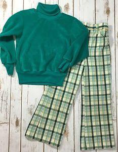 Vtg 70s Green Velour Sweatshirt Sears Plaid Bell Bottom Pants Set Kids 6 Slim | eBay