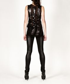 Pleather and heavy knit leggings with multiple zippers