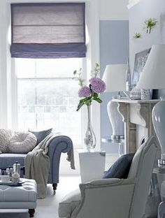 Soft purple and white living room with a little pale gray thrown in...lovely