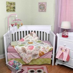 Forest-Birds-and-Owls-Floral-Baby-Girls-Pink-Nursery-4-Piece-Crib-Bedding-Set