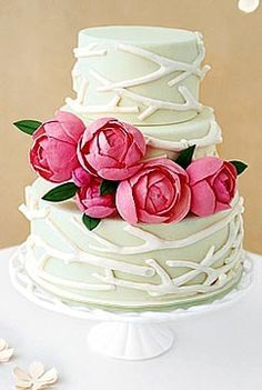 Summer Wedding Cake Design mint color cake with branch design and pink flowers