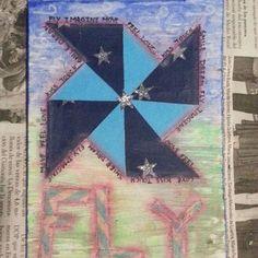 Fly... mix-media and collage postcard. Handmade with watercolors, wax crayons and pen. #handmade #hechoamano #hechoenasturias #scrapbokingcasero #diy #diycasero #postcard #mixmedia #collage #recycled #reciclado #snailmail #crafts #mixmediaart #Asturias