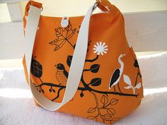 The Sarah bag in orange - with birds by Bag Of Joy / Fine Ting, via Flickr