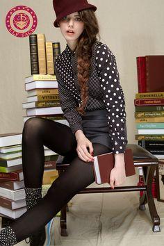 Womens Polo Polka Dot Retro Black Blouses