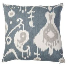 "Down ikat-print pillow.    Product: PillowConstruction Material: Cotton cover and down fillColor: BlueFeatures:  Hidden zipper closureInsert included Dimensions: 18"" x 18""Cleaning and Care: Dry clean only"