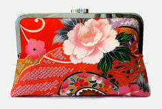 Deep Red Silk Clutch Purse With A Pink Peony  by SimplySilkScarves