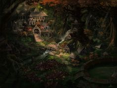 Elf Village - castle, bridge, waterfall, forest, abstract, village, fantasy, houses, arena, river, wallpaper