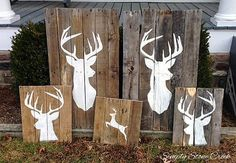 Wood Pallet Projects Simply Stone Creek: Make It Monday! Deer Head Silhouettes on Pallet Wood Pallet Crafts, Pallet Art, Diy Pallet Projects, Wood Crafts, Wood Projects, Woodworking Projects, Diy And Crafts, Christmas Wood, Christmas Crafts
