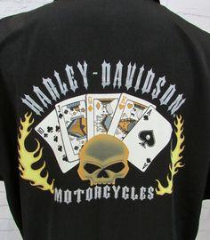Harley Davidson Poker Playing Cards Skull Polyester Button Down Shirt Size XL #HarleyDavidson #Poker