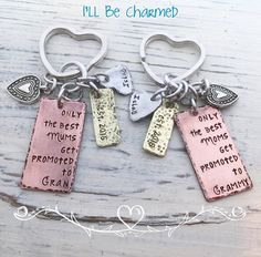Grandma Key Chain  Birth Anouncement  Only the by ILLBECHARMED