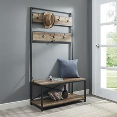 Carbon Loft Geller Industrial Metal and Wood Hall Tree Pallet Furniture, Furniture Projects, Rustic Furniture, Home Furniture, Furniture Movers, Western Furniture, Furniture Removal, Furniture Online, Furniture Outlet