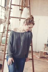 charcoal off the shoulder sweater