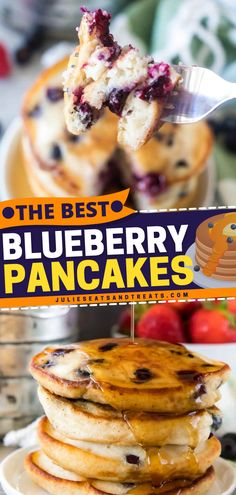 The Best Blueberry Pancakes should only be served to the best mom! Perfect for Mother's Day brunch, these fluffy treats with warmed syrup and butter is sure to impress! It is an easy breakfast idea for any day too! Nutritious Breakfast, Vegetarian Breakfast, Savory Breakfast, Best Breakfast, Healthy Breakfast Recipes, Brunch Recipes, Breakfast Ideas, Blueberry Pancakes, Fluffy Pancakes
