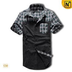 Men's Woven with Knitted Fabric Casual Shirt Short Sleeve Dress Shirt  CW1240 $99.79 - www.cwmalls.com