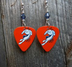 Orange Broncos Guitar Pick Earrings with Crystals by ItsYourPickToo on Etsy