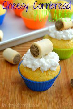 Cheesy Cornbread Pupcakes