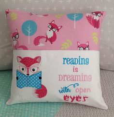 Grand Sewing Embroidery Designs At Home Ideas. Beauteous Finished Sewing Embroidery Designs At Home Ideas. Machine Applique, Machine Embroidery Patterns, Sewing Patterns Free, Book Pillow, Reading Pillow, Learn Embroidery, Embroidery Applique, Duct Tape, Personalised Cushions