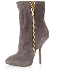 Giuseppe Zanotti Sued Leather boots exterior zip ($295) ❤ liked on Polyvore featuring shoes, boots, ankle booties, grey, leather stiletto boots, giuseppe zanotti booties, leather booties, high heels stilettos and gray boots