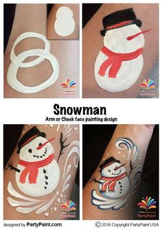 step by step diy face painting snowman, winter, christmas
