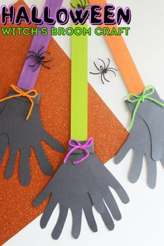 Check out this fun and unique Halloween craft for your kids! This makes a great activity for the elementary classroom, for decorating the day care, or for fun family craft time at home! A witch's broom craft made with handprints. Fun Halloween Activities, Autumn Activities For Kids, Fall Preschool, Stem Activities, Halloween Bath Bombs, Easy Halloween, Halloween Crafts, Ghost Crafts, Spider Crafts