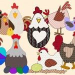 10 patchwork moldes de galinhas e galos para patch aplique