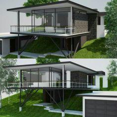 #arte_render_sd #render #vray #3dsmax #revit #photoshop #design vivienda casa en pendiente pronunciada