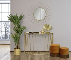 Oglinda rotunda de perete din metal auriu Venice D89.5cm Minimalism, Metal, Geometry