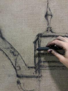 Detalle proceso de creación. Carboncillo sobre lienzo/lino