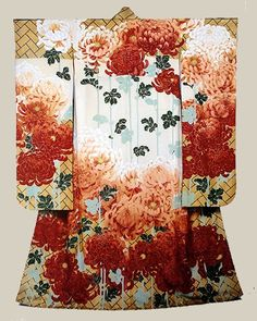Chrysanthemum furisode. Dating to 1915, Japan, this girl's furisode was yuzen dyed by the great master Tabata Kihachi III. It was probably made-to-order for a special event.