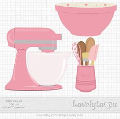 Kitchen Baking clip art set mixer, utensils and bowl, digital PNG clip art (pink… Homemade Recipe Books, Scrapbook Recipe Book, Food Clipart, Cake Logo, Image Clipart, Recipe Filing, Clip Art, Kitchen Art, Recipe Cards