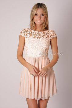 venus lace bodice cocktail dress - baby pink/blush
