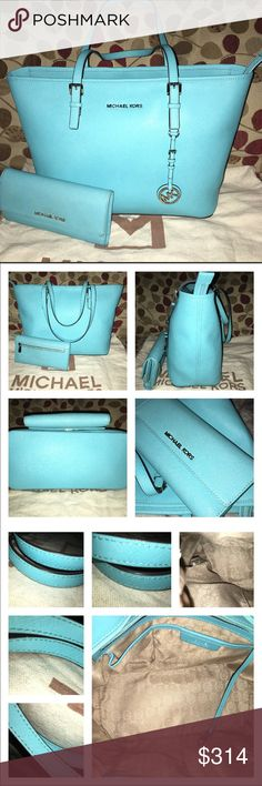 Michael Kors Top Zip Tote & Checkbook Wallet w/bag MK EUC Jet Set Tote & GUC Wallet in Aquamarine Saffiano Leather! Rare color! Tote lined in MK Sateen, key fob, 1 zip, multiple slip pockets, silver hardware w/ minimal scratches. Measures 17 X 11 X 5 Checkbook Wallet has 7 slots for cards, 2 clear slots, 2 full size slip pockets, slip for checkbook cover, slip for register and a pen, the exterior has a zip pocket in back for coins! It has silver hardware w/ minimal scratches, checkbook…