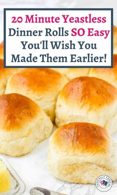 Want to make some delicious bread dinner rolls but dont have any yeast? No worries. Here is a quick 20 minute yeastless Dinner Rolls Easy, No Yeast Dinner Rolls, Homemade Dinner Rolls, Homemade Breads, Easy Dinner Roll Recipe No Yeast, Recipe For Yeast Rolls, Recipe For Dinner Rolls, Mayo Rolls Recipe, Best Rolls Recipe