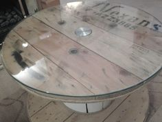 Wooden cable drum glass top coffee table shabby chic