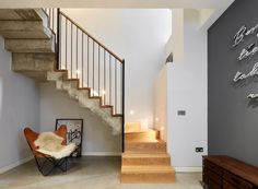House Four is a large double fronted house on Trinity Road, Wandsworth. This residential project was completed by London-based ADE Architects Open Kitchen And Living Room, Home Decor Kitchen, Home Decor Bedroom, Kitchen Dining, Bedroom Ideas, Modern Staircase, Floating Staircase, Cinema Room, London House