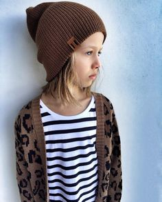 0ac27cff623 Tan Knit Beanie - Stripe Tshirt dress + Leopard Cardigan www.beauhudson.co