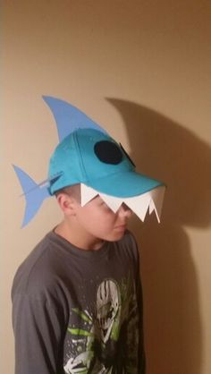Shark hat for crazy hat day.