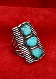 Splendid Vintage Native American, Navajo Turquoise and Sterling Silver Cuff- Gauntlet- Bracelet