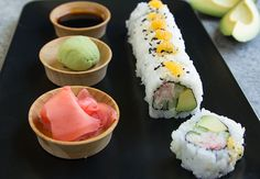 Try making it at home with this simple recipe using fresh crab meat, sushi rice, nori, and creamy avocado! California Roll Recipes, California Rolls, Avocado Roll, Sushi At Home, Seafood Recipes, Fun Recipes, Recipes Dinner, Kitchens