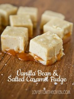 Vanilla Bean And Salted Caramel Fudge Recipe.  This stuff is addictive, so delicious!  And super easy. Carmel Fudge, Salted Caramel Fudge, Caramel Treats, Caramel Cookies, Gluten Free Fudge Recipe, Dessert Cake Recipes, Candy Recipes, Cookie Desserts, Dessert Ideas