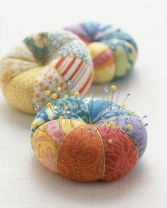 patchwork circle pincushion