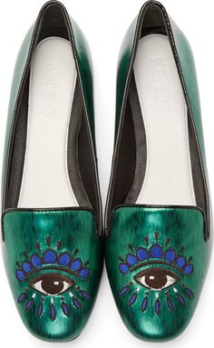 Kenzo Green Embroidered Eye Loafers