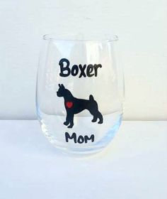Boxer Mom Boxer Dad handpainted wine or pint glass /dog lover wine or beer glass/ dog lover gifts/ Dog Lover Gifts, Dog Lovers, Boxer Mom, Stemless Wine Glasses, Pint Glass, Dads, Beer, Hand Painted, Unique Jewelry