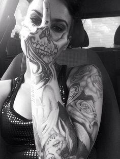 skull hand face